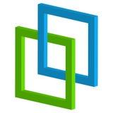 icona di collegamento dei quadrati 3d - quadrato d'intersezione collegato fra illustrazione di stock