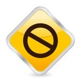 Icona di colore giallo del segno di proibizione Immagini Stock