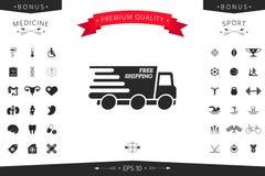 Icona di consegna precisa L'automobile di consegna con un'iscrizione libera il trasporto fotografia stock libera da diritti