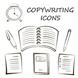 Icona di Copywriting nello stile lineare Illustrazione di vettore di schizzo Fotografia Stock Libera da Diritti