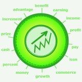 Icona di crescita di soldi Immagine Stock Libera da Diritti