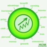Icona di crescita di soldi Vettore Immagine Stock