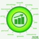 Icona di crescita di soldi Vettore Fotografia Stock Libera da Diritti