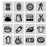 Icona di cucito dell'attrezzatura Immagini Stock