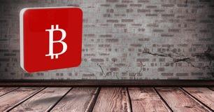icona di 3D Bitcoin nella sala Immagine Stock