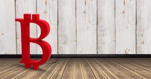 icona di 3D Bitcoin sul pavimento nella sala Fotografia Stock Libera da Diritti