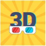 Icona di 3D e di vetri con le lenti rosse e blu su un fondo giallo con i raggi illustrazione vettoriale