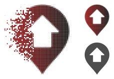 Icona di disintegrazione dell'indicatore di Dot Halftone Forward Up Arrow illustrazione di stock