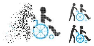 Icona di disintegrazione di Dot Halftone Disabled Person Transportation illustrazione di stock