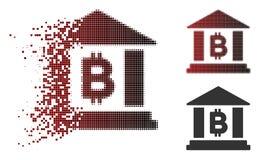 Icona di Dot Halftone Bitcoin Bank Building della polvere Illustrazione Vettoriale