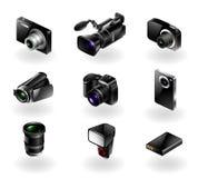 Icona di elettronica impostata - macchine fotografiche e videocamere portatili Fotografie Stock Libere da Diritti