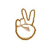 Icona di emozione della gente di Victory Sign Peace Hand Gesture Fotografie Stock Libere da Diritti