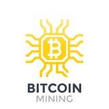 Icona di estrazione mineraria di Bitcoin Fotografia Stock