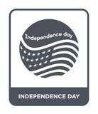 icona di festa dell'indipendenza nello stile d'avanguardia di progettazione icona di festa dell'indipendenza isolata su fondo bia royalty illustrazione gratis