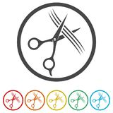Icona di forbici e del pettine, 6 colori inclusi illustrazione di stock