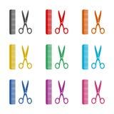 Icona di forbici e del pettine o logo, insieme di colore illustrazione vettoriale