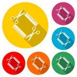 Icona di forbici e del pettine o logo, insieme di colore con ombra lunga royalty illustrazione gratis