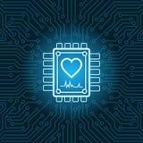 Icona di forma del cuore sul fondo di Chip Over Blue Circuit Motherboard Fotografia Stock Libera da Diritti
