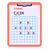 Icona di formula dell'etanolo, stile piano illustrazione di stock