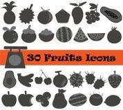 Icona di frutti 30 nel tono nero Immagine Stock Libera da Diritti