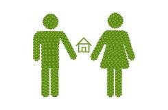 Icona di genere del trifoglio di quattro foglie con il simbolo domestico Fotografie Stock