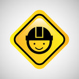 icona di giallo del segno del casco dell'uomo del lavoratore Fotografie Stock