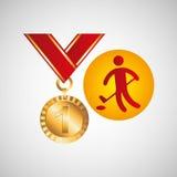 Icona di golf della medaglia di oro olimpico Immagini Stock Libere da Diritti