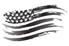 Icona di gradazione di grigio di vettore della bandiera di U.S.A. Fotografia Stock Libera da Diritti