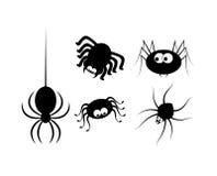 Icona di Halloween del ragno, insieme della siluetta di simbolo Illustrazione di vettore su priorità bassa bianca Fotografia Stock