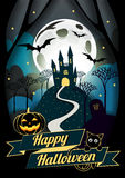 Icona di Halloween e carattere piani di Halloween, progettazione dell'elemento, fondo blu di Halloween, illustrazione di vettore, Fotografia Stock Libera da Diritti