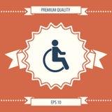 Icona di handicap della sedia a rotelle Fotografie Stock