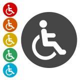 Icona di handicap della sedia a rotelle Icona disabile del segno illustrazione vettoriale