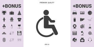 Icona di handicap della sedia a rotelle - elementi grafici per la vostra progettazione Fotografie Stock Libere da Diritti