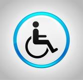 Icona di handicap della sedia a rotelle intorno al pulsante blu illustrazione di stock