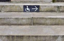 Icona di handicap per i disabili con la freccia a destra immagine stock