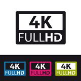 icona di 4k FullHD - illustrazione variopinta di vettore - isolata su fondo in bianco e nero royalty illustrazione gratis