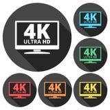 icona di 4K TV - il vettore ha messo con ombra lunga illustrazione di stock