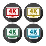 icona di 4K TV - il vettore ha messo con ombra lunga royalty illustrazione gratis