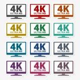 icona di 4K TV - insieme di vettore illustrazione di stock