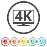 icona di 4K TV, ultra icona di HD 4K, 6 colori inclusi illustrazione vettoriale
