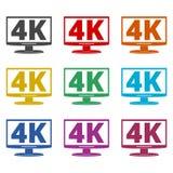 icona di 4K TV, ultra icona di HD 4K, icone di colore messe royalty illustrazione gratis