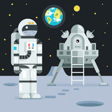 Icona di Landing Planet Lander dell'astronauta del cosmonauta sulle stelle alla moda della luna della terra Fotografie Stock