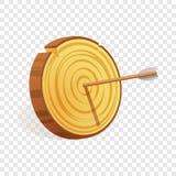 Icona di legno dell'obiettivo, stile del fumetto illustrazione di stock