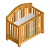 Icona di legno della greppia del bambino, stile isometrico illustrazione di stock