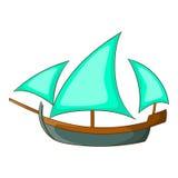 Icona di legno di navigazione della nave tre, stile del fumetto Immagine Stock