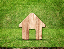 Icona di legno domestica nella stanza dell'erba verde, concetto di Eco Fotografia Stock Libera da Diritti