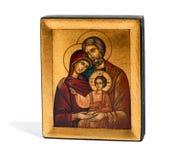 Icona di legno dorata di Joseph, di Maria e di Gesù Fotografia Stock