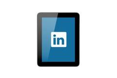 Icona di LinkedIn sul pc della compressa Fotografie Stock Libere da Diritti