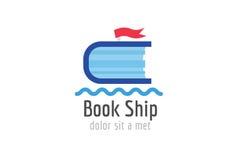 Icona di logo del modello della nave del libro Di nuovo al banco Immagine Stock