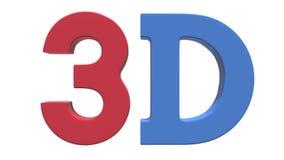 icona di logo del testo del segno 3D nei colori rossi e blu stock footage
